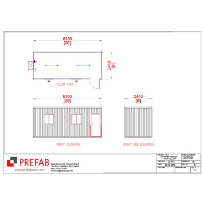 20' CONTAINER MODIFIED AS OPEN HALL FLOOR PLAN