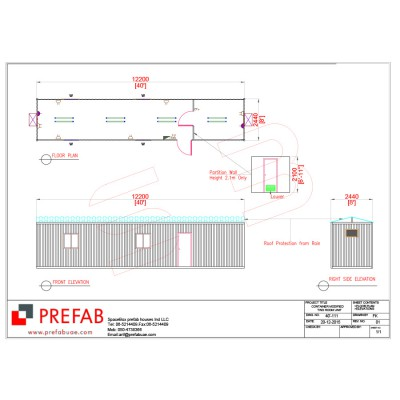 40' CONTAINER MODIFIED AS TWO ROOMS FLOOR PLAN