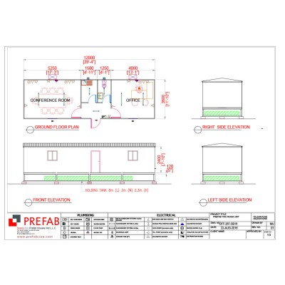 12m X 3.6m 02R,01T,01P with septic tank