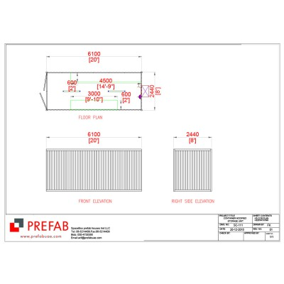 20' CONTAINER MODIFIED AS STORAGE FLOOR PLAN