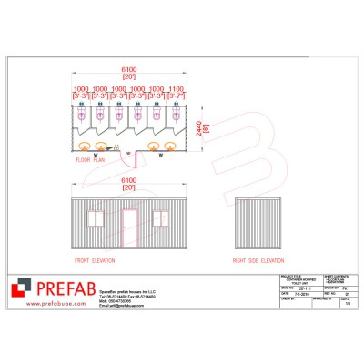 20' CONTAINER MODIFIED AS TOILET UNIT FLOOR PLAN