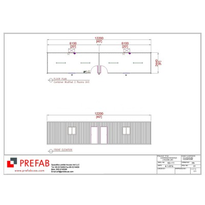40' CONTAINER MODIFIED 2 ROOMS UNIT