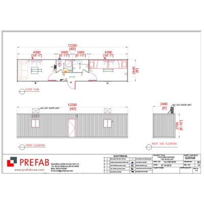 40' CONTAINER TWO ROOMS TWO Rooms Kitc & Toilet